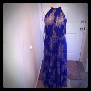 Blue and gold dress